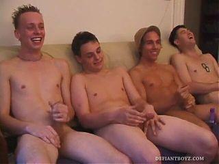 Four Boys Jerking Off Together