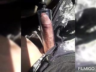 Pumping my cock on the side of the road in my car