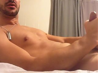Horny Guys Cum Shower On His Bed