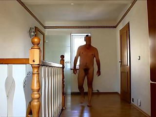 walking nude at home