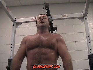 Older Muscleman Daddy Flexing Gym