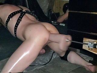 Slave ass destroyed wide girth dildo on machine