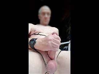big dick bondage jerking outdoor slowmotion closeup cumshot