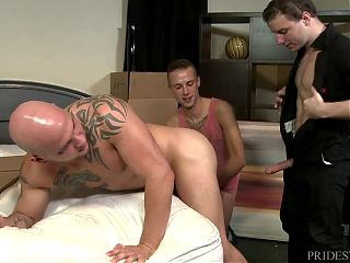 ExtraBigDicks Hung Mover takes 2 Cocks at Once